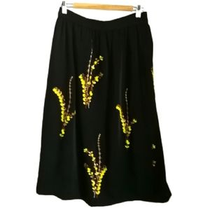H&M Black Mimosa Faux Wrap Embroidered Midi Skirt